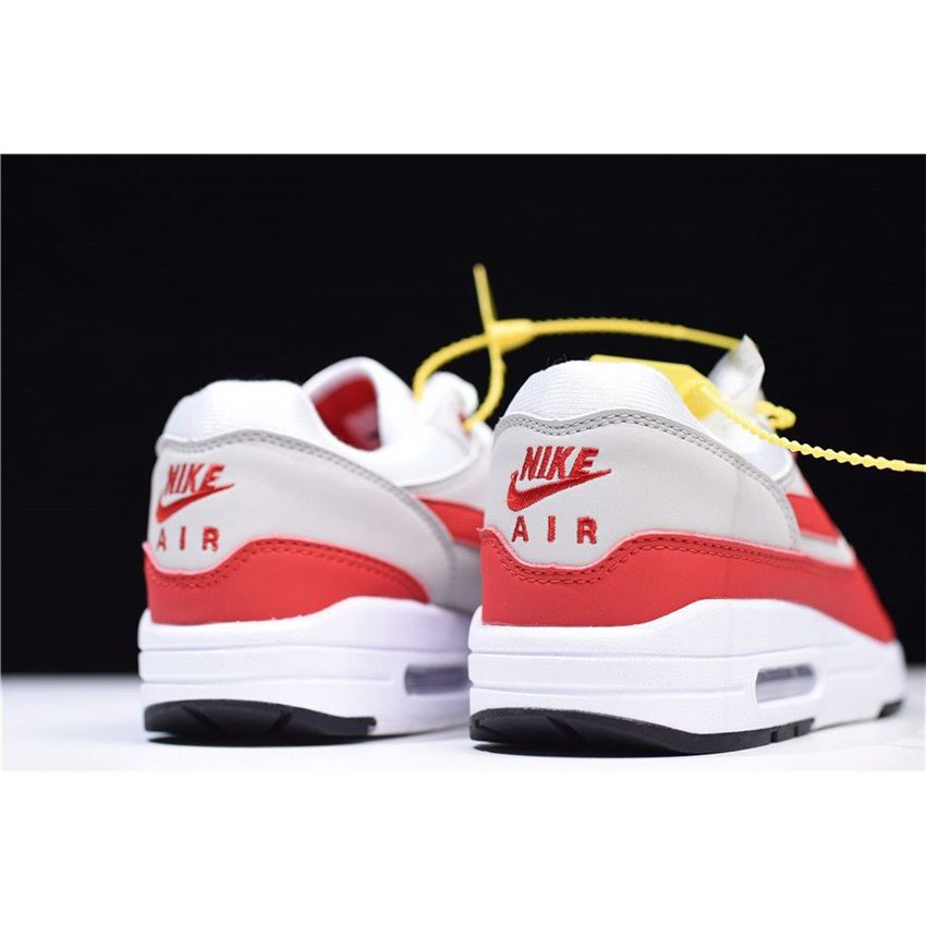 online store faca5 a2019 Men s and Women s Nike Air Max 1 OG Anniversary White University  Red-Neutral Grey-Black 908375-103