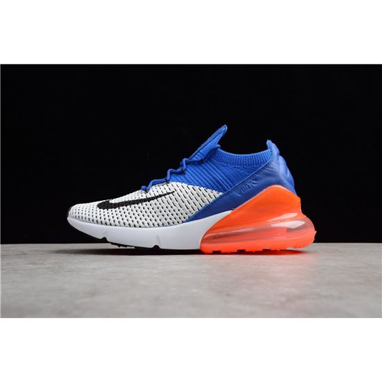 "2018 Nike Air Max 270 Flyknit ""Racer BlueTotal Crimson"" Running Shoes AO1023 101"